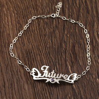 Customized Nameplate Ankle Bracelets Women Birthstone Personalized Name Anklets Bracelet Foot Jewelry Christmas Gifts