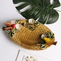 Creative 2 Vivid Birds Ceramic Fruit Candy Dessert Ornament Handmade Soap Porcelain Plate Crafts Home Decor Wedding Decoration