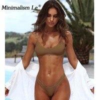 Minimalism Le Low Waist Solid Bikini Sets 2018 Sexy Bikini New Style Swimwear Fashional Bathing Suits