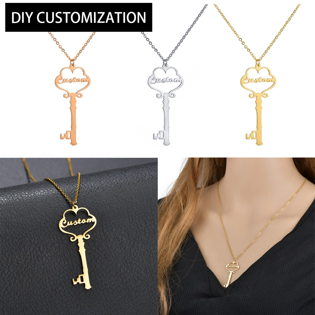 Stainless Steel Personalized Necklace Vintage Charm Custom Key Chain Pendant Gold Link Necklace Custom Jewelry Valentine Gift in Pendant Necklaces from Jewelry Accessories