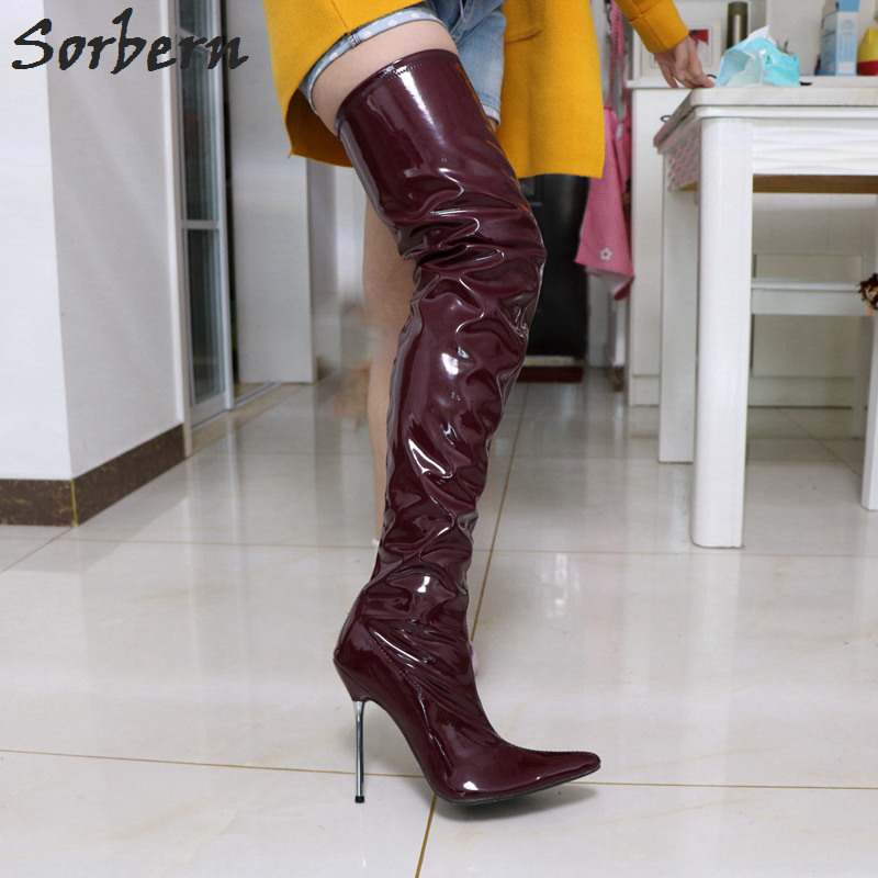 Sorbern Stilettos Metal High Heel Boots For Women Shiny Stretched Crotch Show Boot Sexy Fetish Thigh High Boots Women Pointy Toe