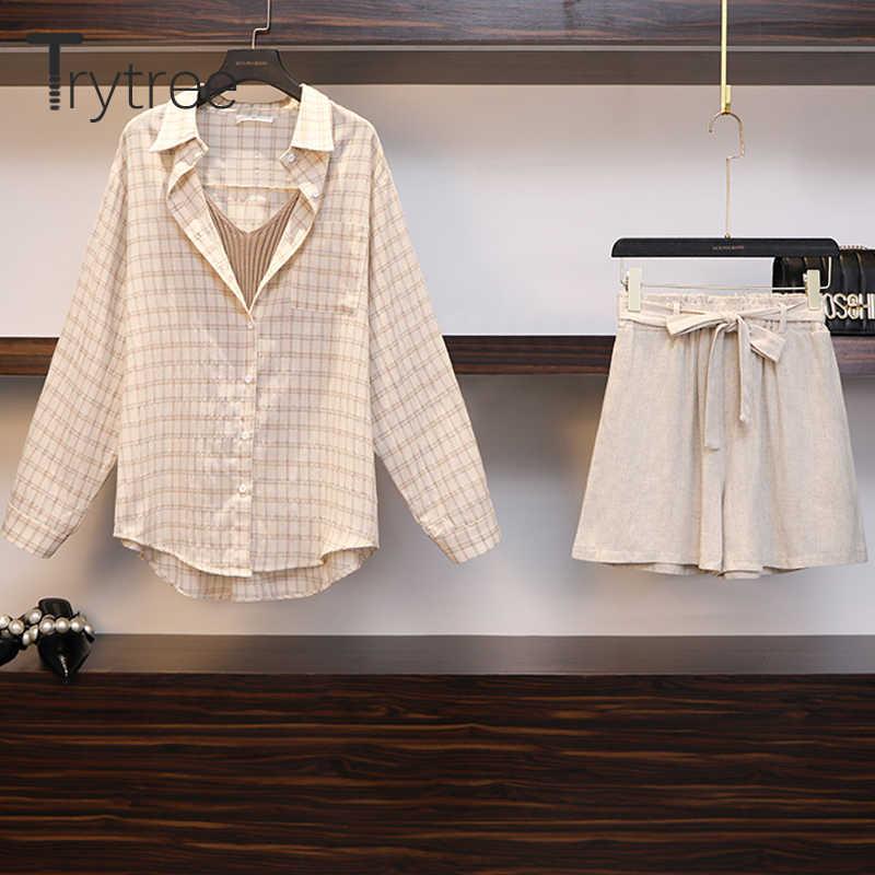 Trytree Musim Panas Musim Gugur Wanita Tiga Sepotong Set Santai Linen Plaid Atasan + Celana Pendek Pinggang Elastis Lebar Kaki Celana Set 3 Buah Set