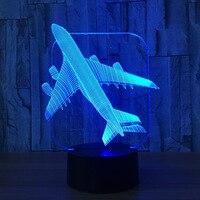 אוויר מטוס 3D אשליה אופטית וbulbing מנורת שולחן אור מנורת לילה אור 7 צבעים שינוי מצב רוח