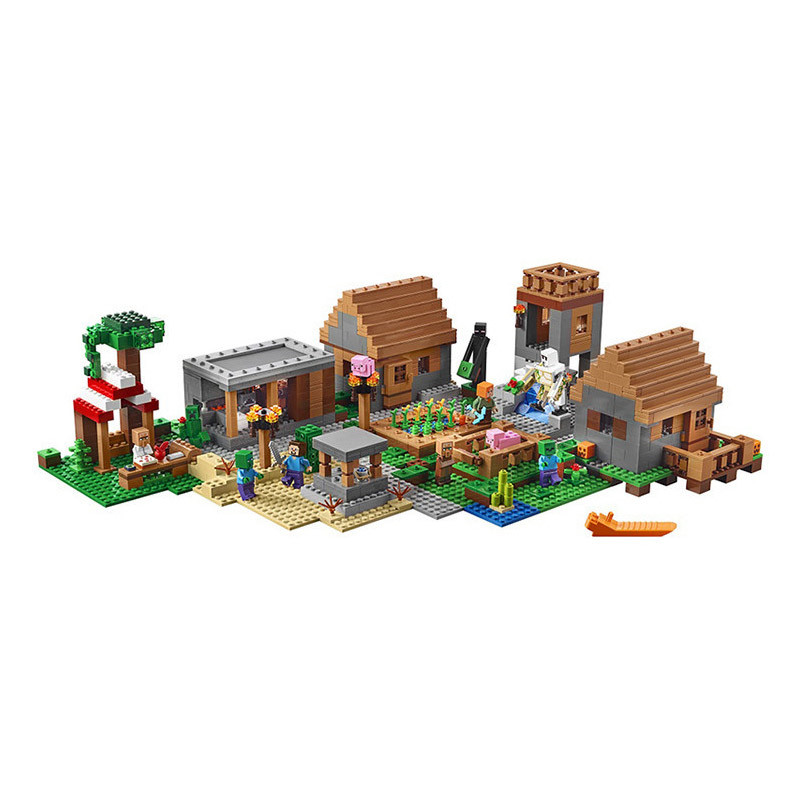 Gifts Pogo Bela 10531 1600+Pcs Minecraft My Worlds Village Models Building Blocks Bricks Compatible Legoe Toys Gifts 425 pcs set 9796 bela x 1 ninja charger kai activate interceptor vehicle building blocks set gifts toys compatible legoe 70727