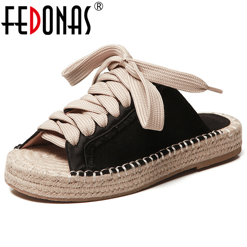FEDONAS Vintage Shoes For Women Classic Design Cow Leather Casual Shoes Open Toe Style Summer Shopping