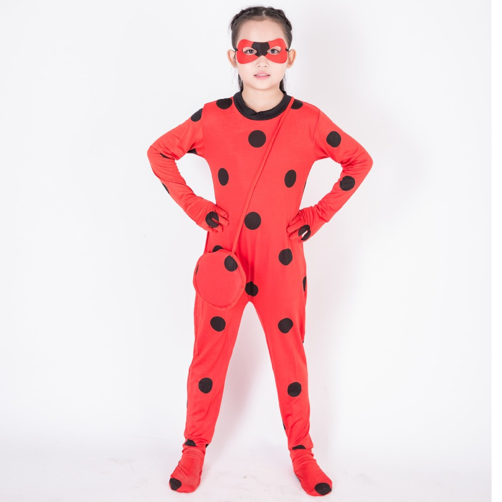 Ladybug Children's Tights Marinet Red Jumpsuit Free Eye Mask and Waist Bag Fantasy Cosplay Costume Comic Party Purim Halloween