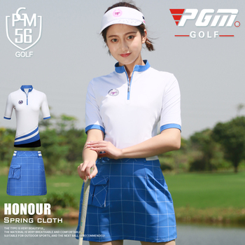 PGM New golf clothing ladies zip collar short-sleeved T-shirt spring summer breathable and quick-drying sportswear women's shirt