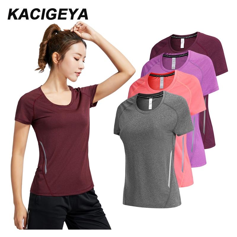 Camisa em execução da mulher de fitness secagem rápida magro mangas curtas respirável ginásio náilon esportes yoga camisas compressão feminino 2019