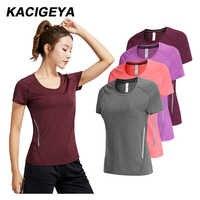 T-shirt course femme séchage rapide Fitness Slim manches courtes respirant Gym vêtements de sport en nylon Yoga chemises Compression femme 2019
