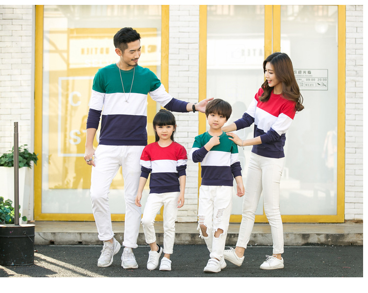 2018 Autumn Long Sleeve Family Matching Outfits Cotton Green Pink Splice Sweater For Boys Girls Clothings Match Family Clothings