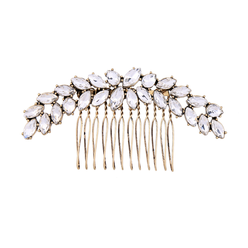 Wedding Crystal Hair Combs Fashion Indian Jewelry Women Leaf Hairwear Trendy Vintage Hair Accessories