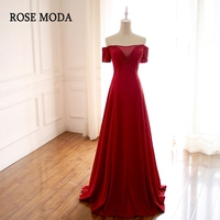 Rose Moda Red Long Prom Dress 2018 with Short Sleeves Off Shoulder Crystal Prom Dresses Real Photos
