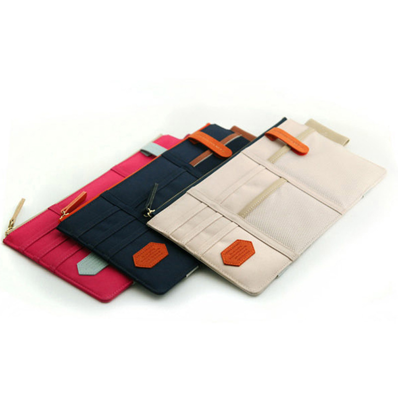 3 colors car sun visor fabric admission package dvd bills bank card holder clip car bag storage organizer