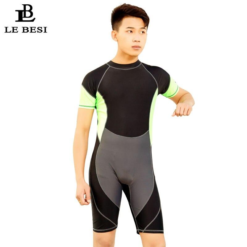 LEBESI 2017 Man's Swimwear Professional One Piece Swimsuit Patchwork Man Rash Guards Fifth Pants Swimming Surf Board Sportswear