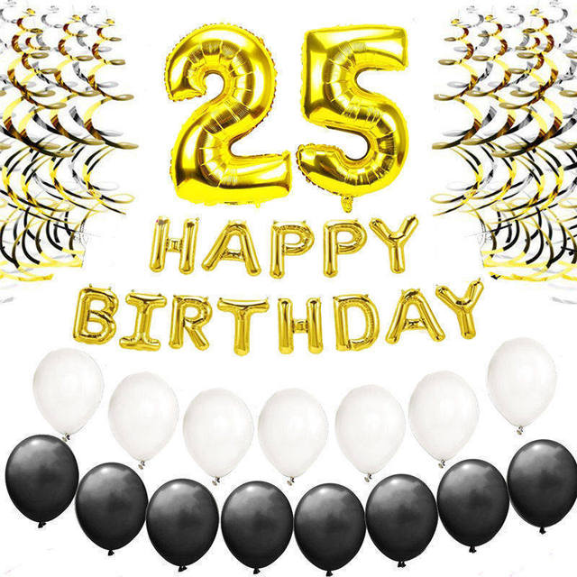 Gold Black 25th Birthday Balloons Kit Silver Happy Letter 25 Years Old Party Decor For Adults