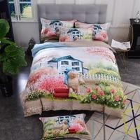 Egyptian Cotton bed sheet set queen king size duvet cover sets 3d scenery design bedding sets pillowcases housse de couette 36