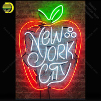 Neon Sign for New York City Apple shape Neon Bulb sign handcraft Real Glass tube windows Dropshipping neon bar lights Home Decor