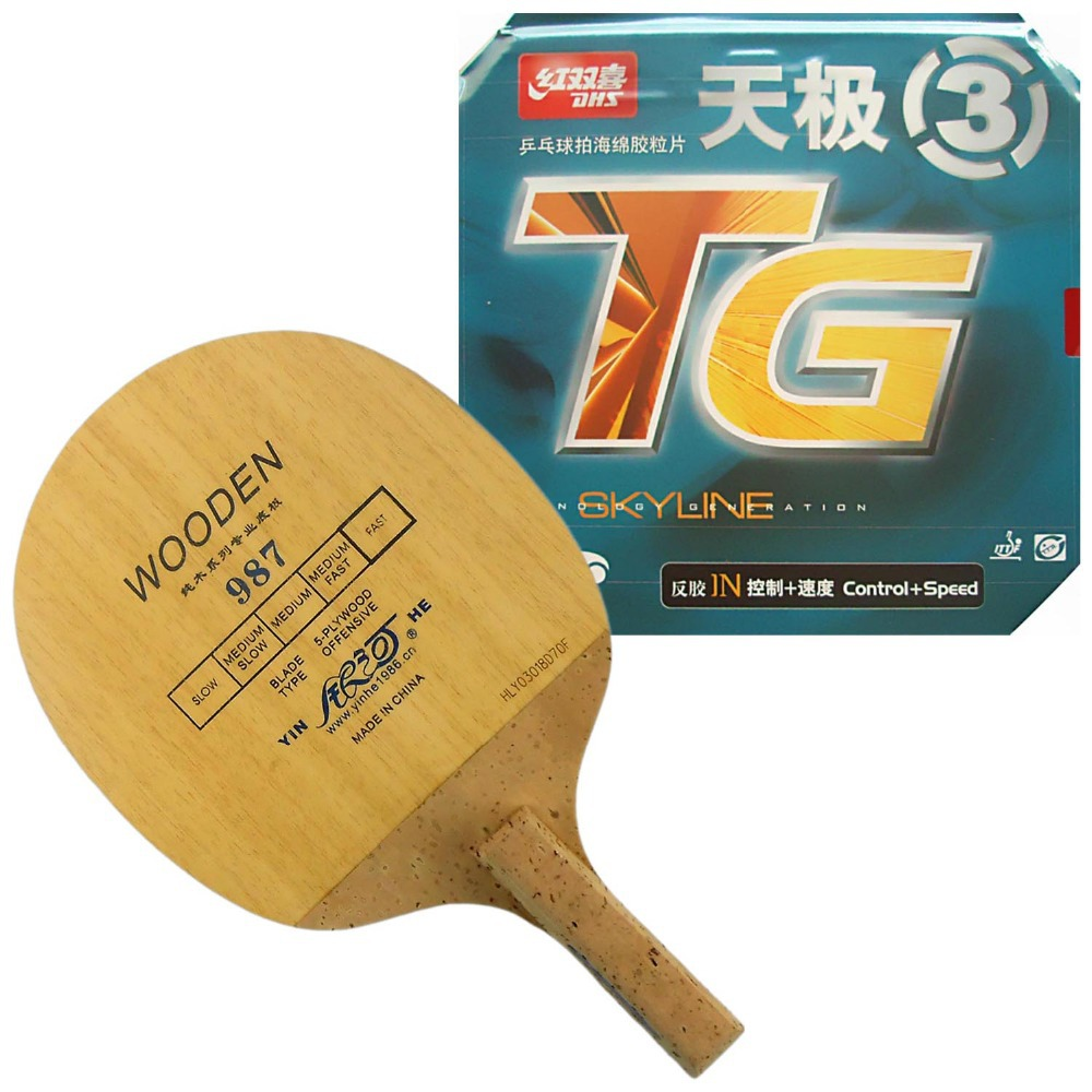 Pro Table Tennis (PingPong) Combo Racket: Galaxy YINHE 987 with DHS NEO Skyline-TG3 Japanese Penhold JS