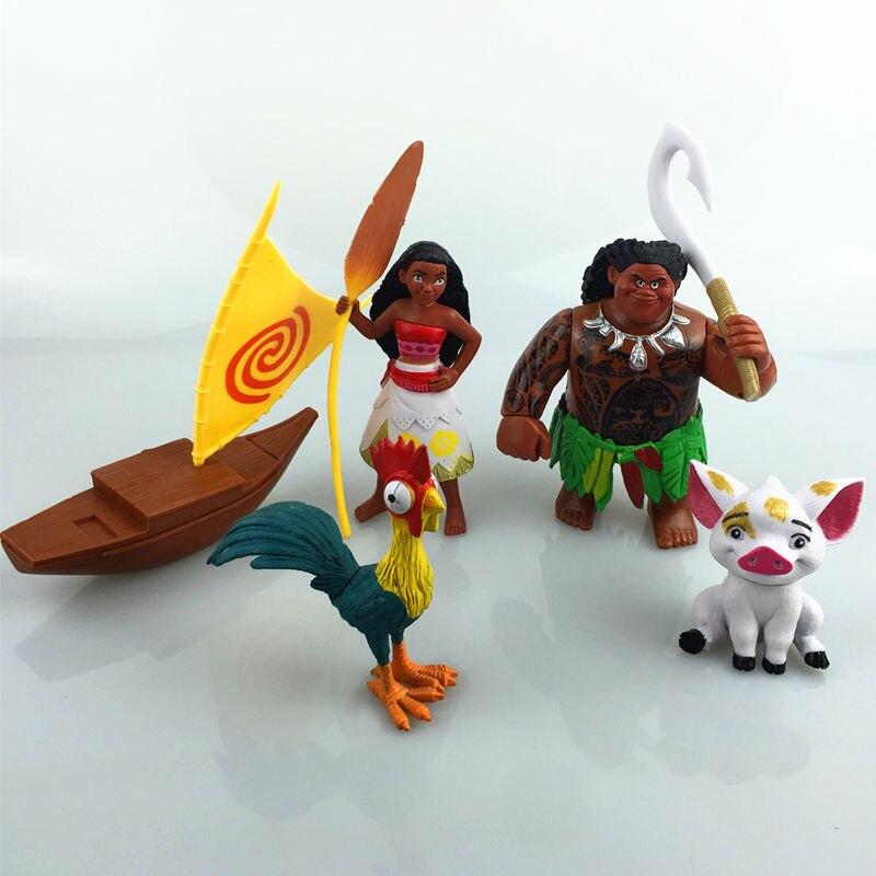 5pcs/set Marine Romance One Piece Ahna Moana Mona Vaiana Doll Kids Gift Anime Action Figure Birthday Toys Decoration Toys