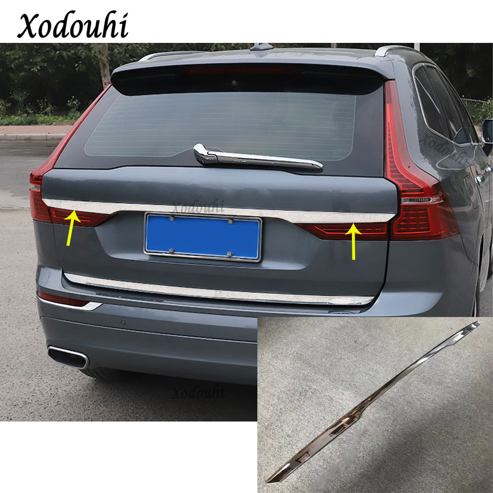 For Volvo XC60 2018 2019 Car styling body Rear License Plate Door upper Tailgate Plate Trim Lamp trunk frame Panel moulding 1pcs high quality car styling cover detector abs chromium tail back rear license frame plate trim strips 1pcs for su6aru outback 2015