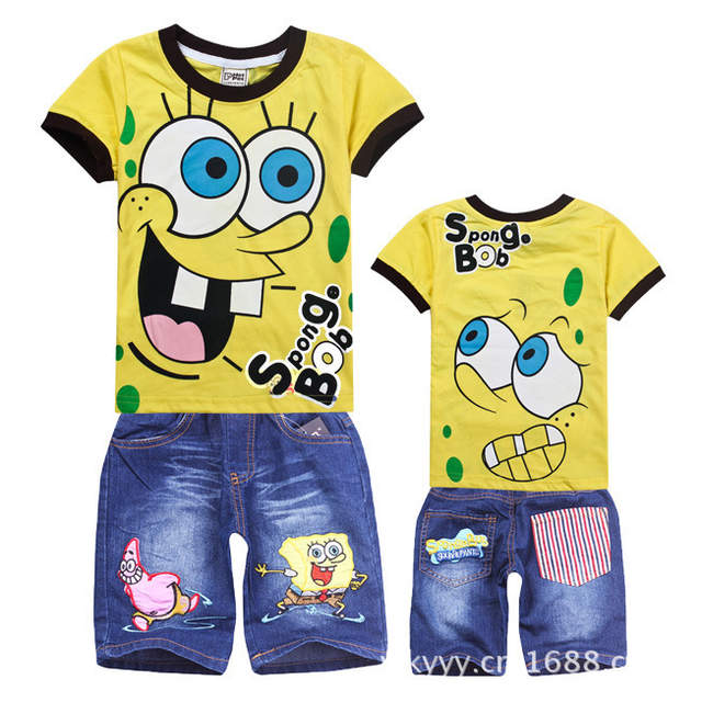 f44fac267 placeholder Retail Children Clothing Sets,Cartoon SpongeBob T-shirt+jeans  Shorts,boys of