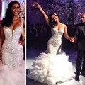 Luxury Crystals Spaghetti Strap Wedding Dress Ruffles Organza Sweetheart Mermaid Wedding Dresses Court Train Tiered Bridal Gowns