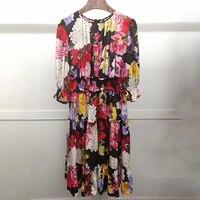 Floral Print Dress Women Silk Dress High Quality 2019 Luxury Floral Dress with Sleeve Female Dress