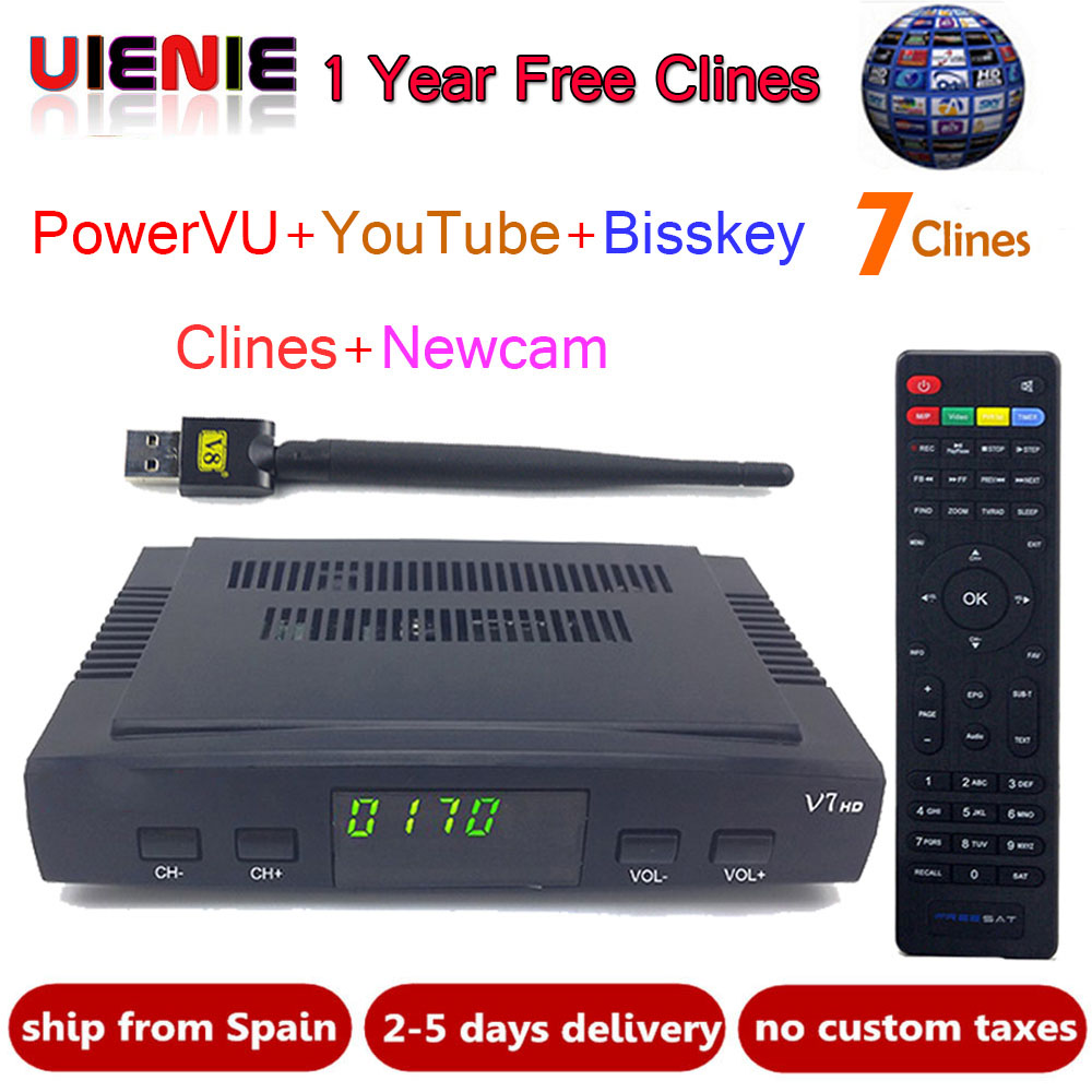 UIENIE Satellite TV Receiver decoder freesat V7 HD DVB-S2 + USB Wfi Receptor with 7 lines Europe Cline account support powervu картридж t2 ic h110 голубой