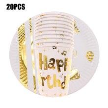 20 шт/se золотые фольги ноты бумажные пластины вечерние принадлежности одноразовая посуда бумажные чашки для детей вечерние поставщики