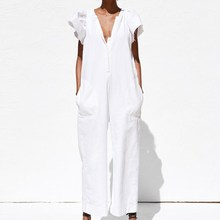 Sexy White Jumpsuits Casual Ruffle Sleeve Wide Leg Jumpsuits Solid Short Sleeve Bodysuit Elegant Office Lady V Neck Jumpsuit solid ruffle cami jumpsuit
