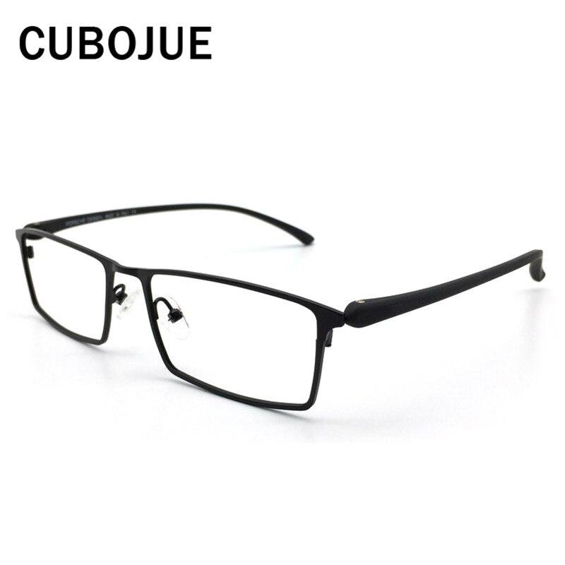 Cubojue (145mm) Titanium Eye Glasses Frame Men Oversized eyeglasses Prescription Spectacles man brand Man optical Eyewear black