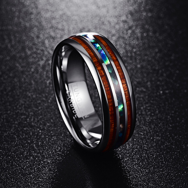 Nuncad 8MM Polished Matte Abalone Shell Tungsten Carbide Ring For Men Full Size 4-17 T025R  1