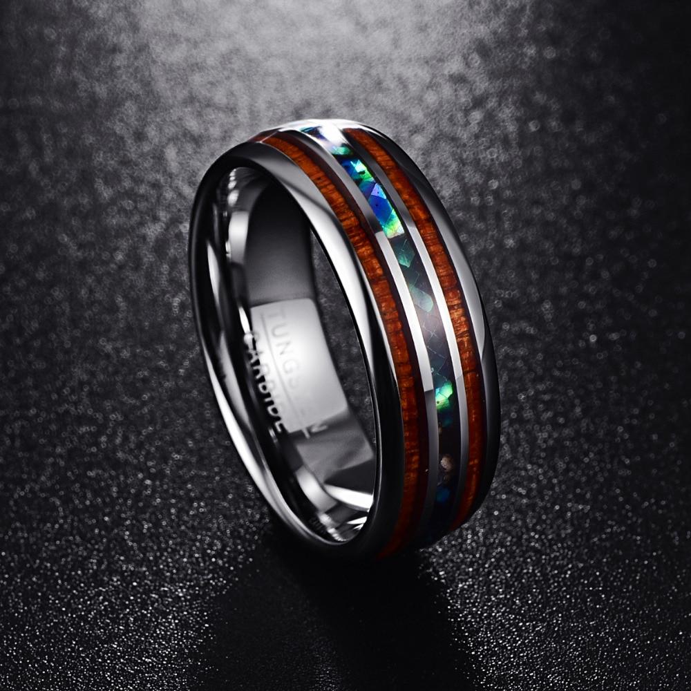 Nuncad 8mm MM lucido opaco abalone shell anello di carburo di tungsteno full size 5-17 T025R