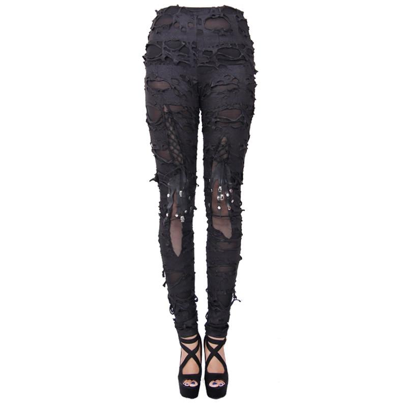 Gothic Steampunk Women Pants Tight Black Pants Women's Do Old Skull Hole Pants Trousers Women Long Pants Capris Large Sizes