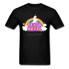 Create Men's Death Metal Funny Unicorn Rainbow Mosh Parody T Shirt Humor O-Neck Cool Shirts Men's Pre-cotton Tees