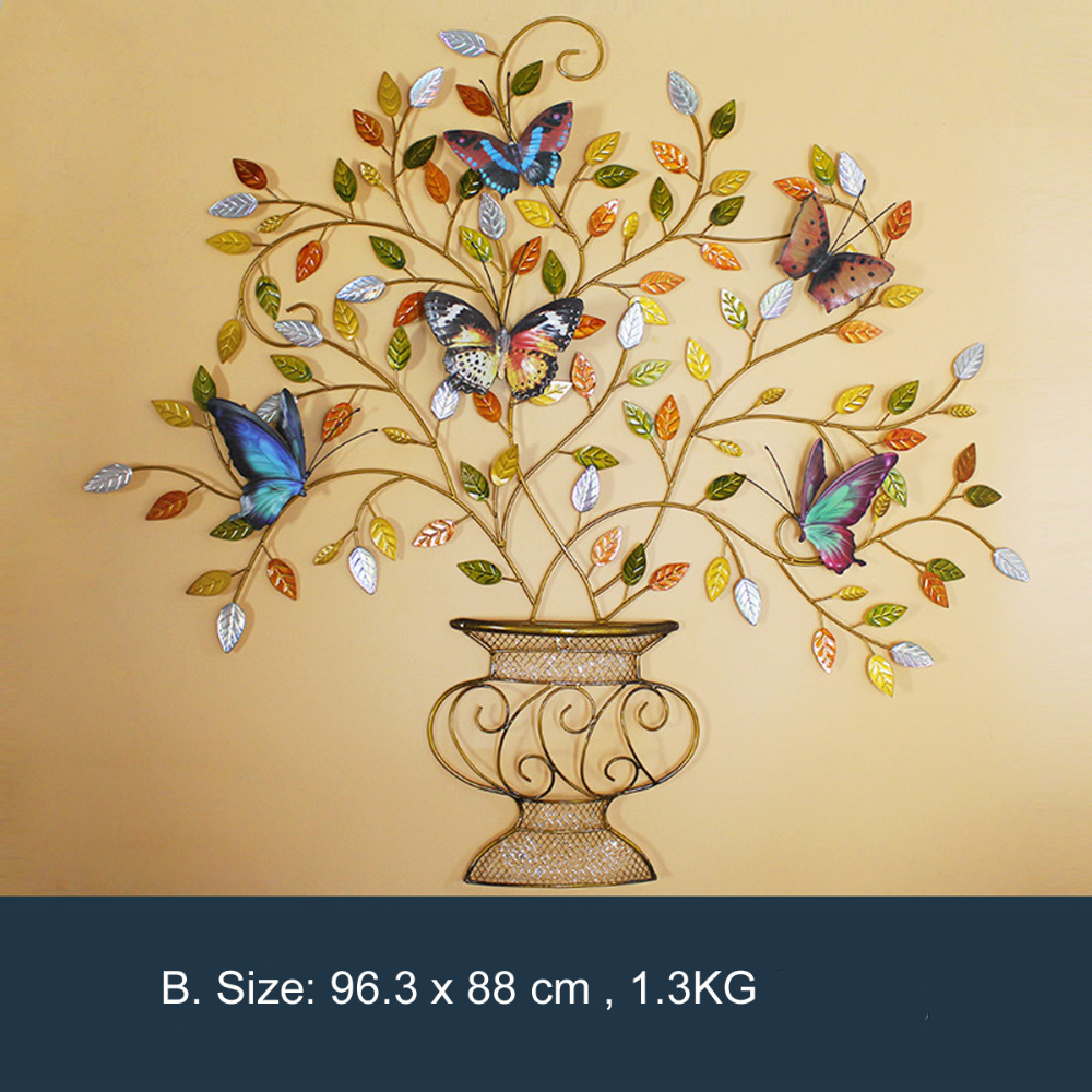 Decorative Metal Wall Art, Vase with Art Iron Tree And Butterfly ...