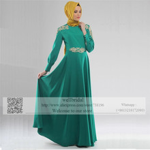 Green 2016 Long Sleeve Muslim Robe de Mariage Hijab Dubai Saudi Arabia Appliques Beads Event Gown Women Prom dress