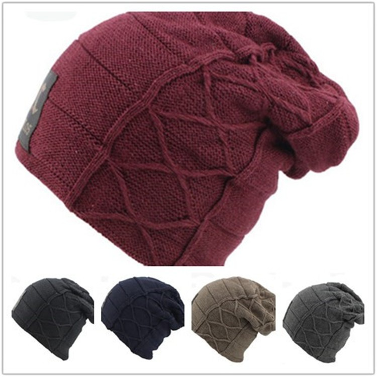 Knit Men's Winter baggy Hat Caps Outdoor Ski Sport Warm Casual Cap with the leather lable hot winter beanie knit crochet ski hat plicate baggy oversized slouch unisex cap