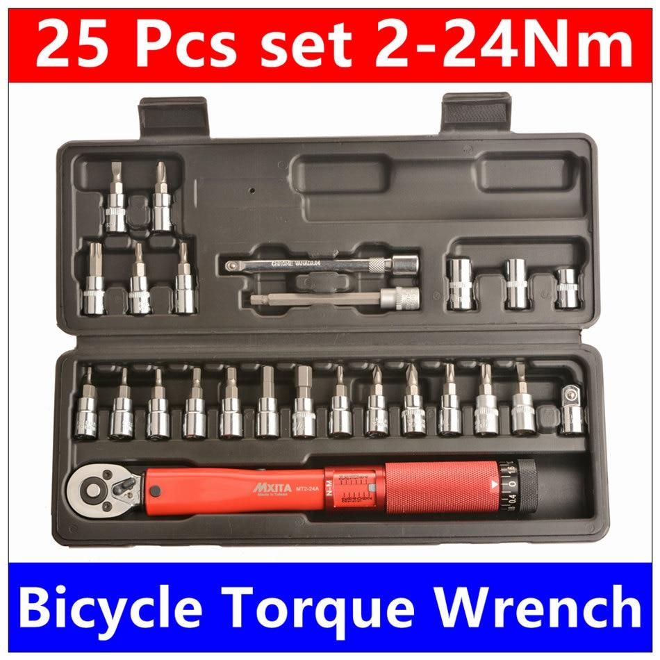 MXITA Free shipping 1 4 DR 2 24Nm 25 Pcs torque wrench Bicycle bike tools kit