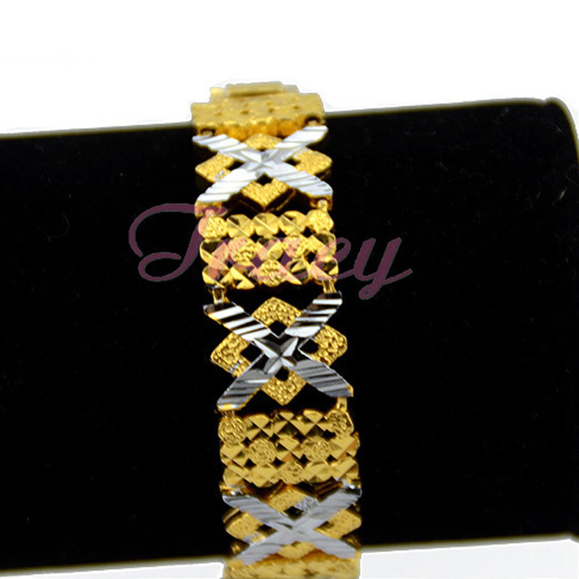 Cool 15mm womens Gold Color Filled Bracelet Link X Rhombic Patterned