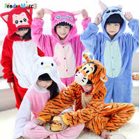 New Baby Boys Girls Children S Pajamas Hooded Winter Children Flannel Animal Stitch Panda Tiger Cartoon