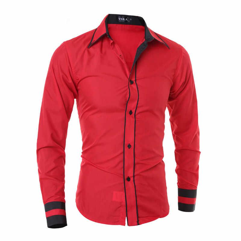 Nueva llegada de FGKKS, camisa Casual para hombre, camisa de primavera, camisa de esmoquin de manga larga para hombre, camisa de Color sólido