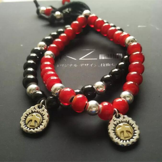 Vintage Indian Style Red/Black Bead Bracelet Men Women With Solid Silver 925 Charms & Genuine Deerskin Leather Rope For 16~23mm