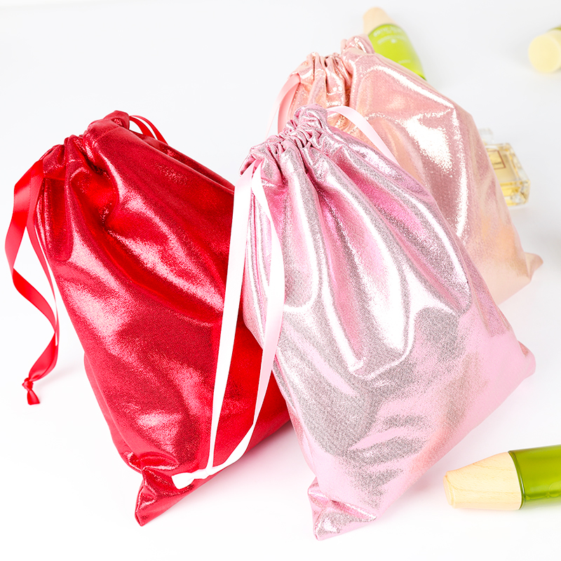 Big Size Soft PU Leather Sequin Pink Drawstring Pouch Bag /Wedding Candy Packing Drawstring Pouch