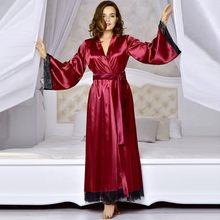 30f5065bcfcba2 Frauen Sexy Lange Silk Kimono Morgenmantel Bademantel Babydoll Dessous  Nachthemd Satin bademantel Spitze Damen bad robe
