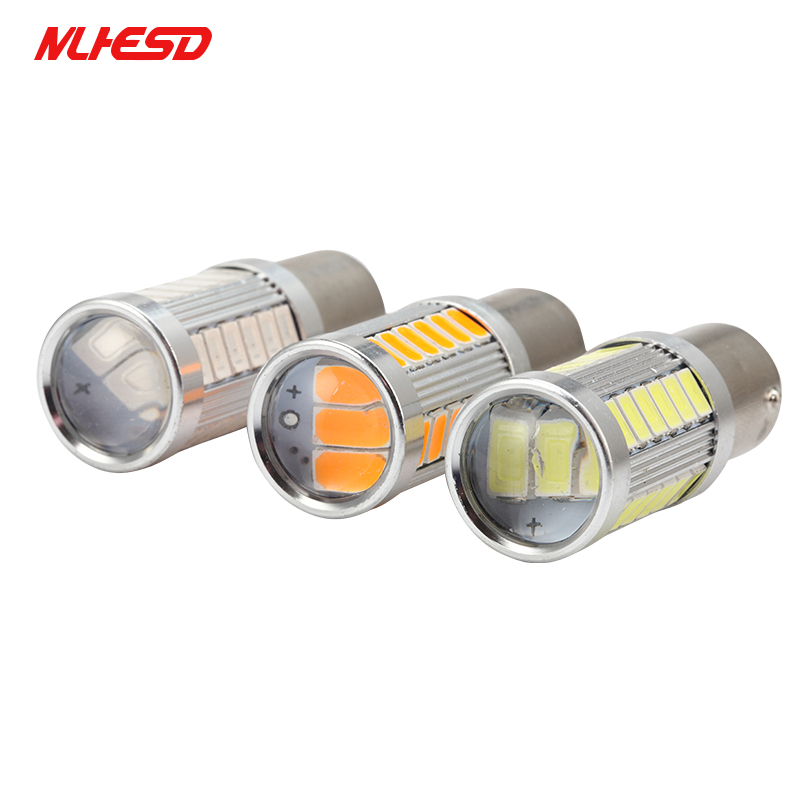 10pcs 1156 BAU15S <font><b>PY21W</b></font> 7507 <font><b>LED</b></font> Bulbs For Cars Turn Signal Lights Amber/<font><b>Orange</b></font> Lighting White Red Blue 5630 33SMD yellow image