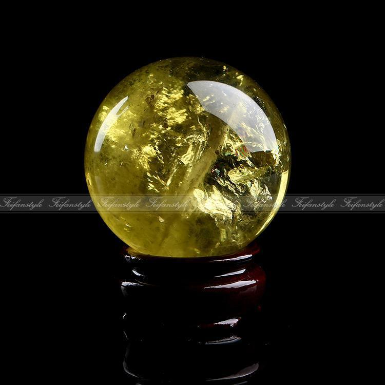 1pc 40mm Natural Citrine Quartz Crystal Sphere Ball Healing Stand F837 natural stones and minerals