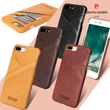 "PIERRE CARDIN For iPhone 7/7 Plus 6/6s 4.7"" 6/6s Plus 5.5"" New Arrival Brand New Genuine Leather Card Back Case Cover Best Goods"