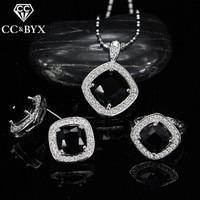 CC Sets For Women Vintage Bijouterie Wedding Engagement Set Ring Pendant Necklace Stud Earrings Black Stone