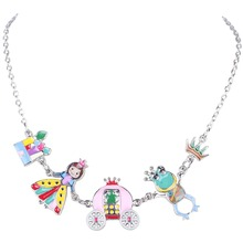 Bonsny Statement Enamel Necklace Angel Frog House Crown AlloyLong Collar Chain Pendant 2016 New Jewelry For Women Accessories